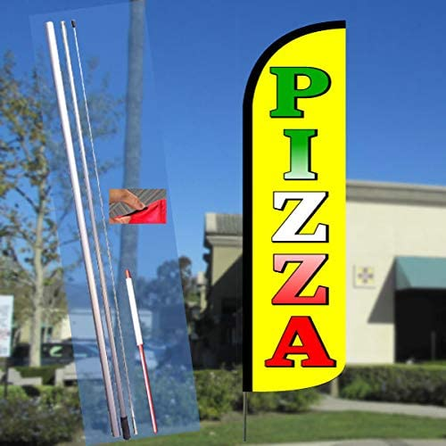 Pizza (Yellow) Windless Feather Flag Bundle (11.5 Tall Flag, 15 Tall Flagpole, Ground Mount Stake)