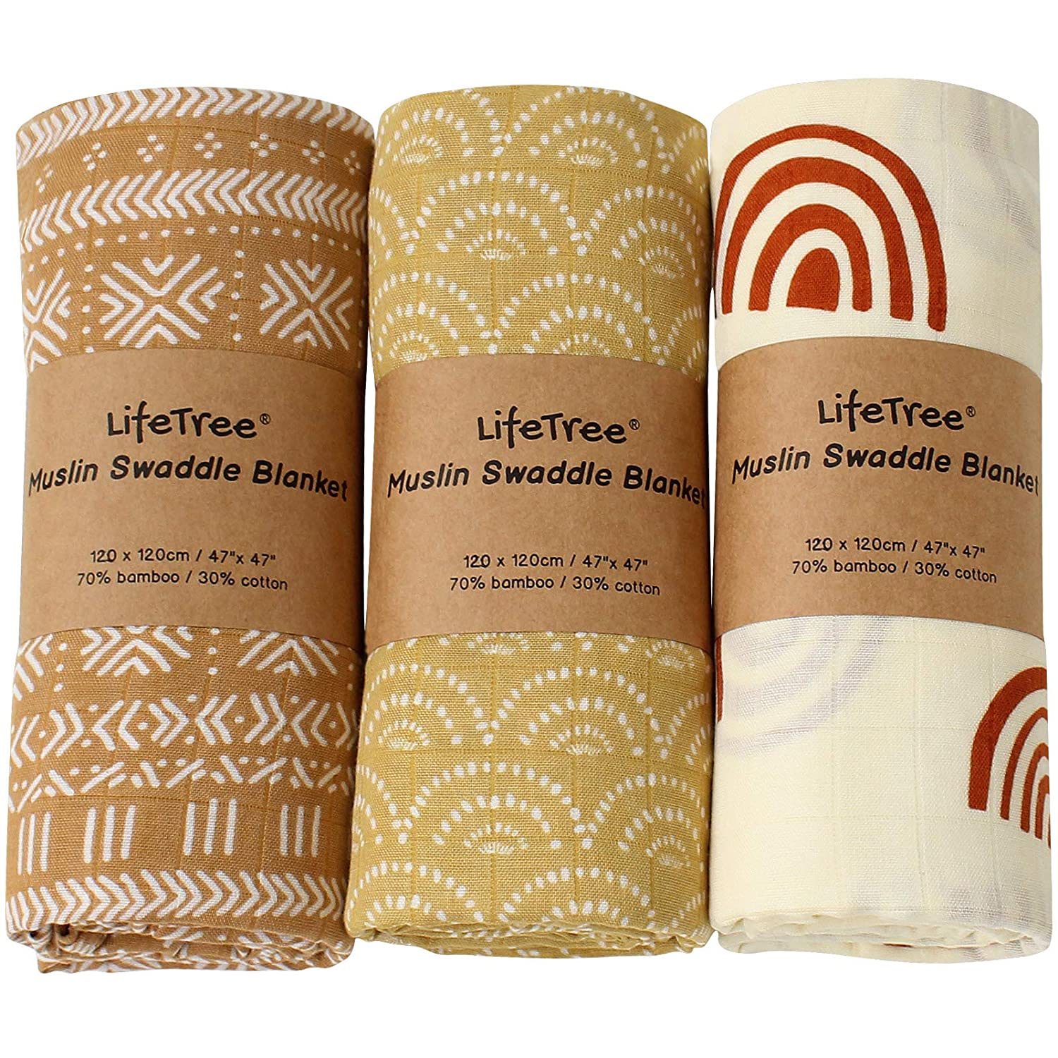 LifeTree 3 Pack Baby Swaddle Blankets - Soft Bamboo Cotton Muslin Swaddle Blankets - Earthy Color Collection, Lightweight, Breathable, Large 47 x 47 inches