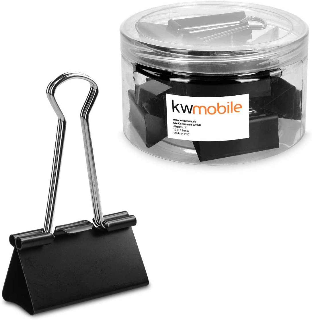 kwmobile Set of Binder Clips (24 Pack) - Large Foldback Binderclips Office Supplies for Printer Paper, Documents - 1.6 Inches Size (Black)