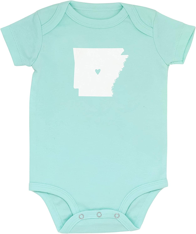 Arkansas Silhouette Mint Green Grey 100% Cotton Infant Bodysuit 9-12 Month, Set 2