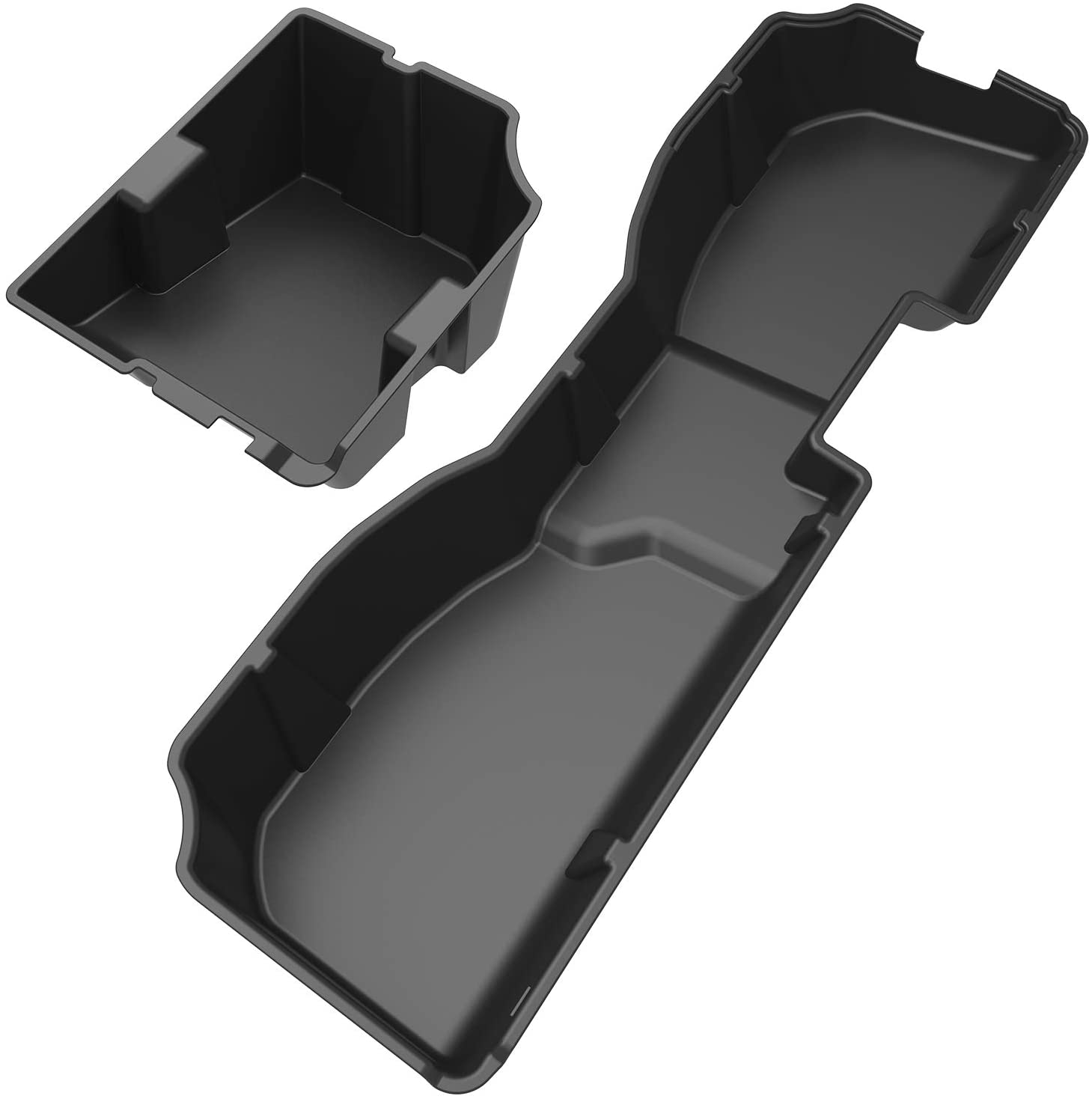 Maxiii Under Seat Storage Box Compatible with 2014-2018 Chevrolet Silverado/GMC Sierra 1500, 2015-2019 Silverado/Sierra 2500 3500 HD Crew Cab, Textured Black, 2-in-1 Design,Spacious Storage