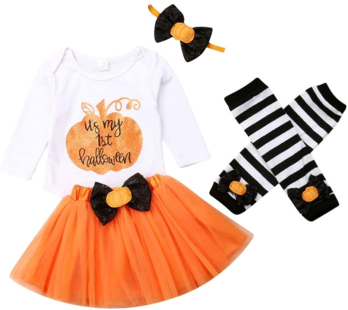 Toddler Baby Girls Outfit My First Halloween Top Romper+ Orange Tutu Skirt+ Striated Leggings +Headband 4Pcs Outfit Set
