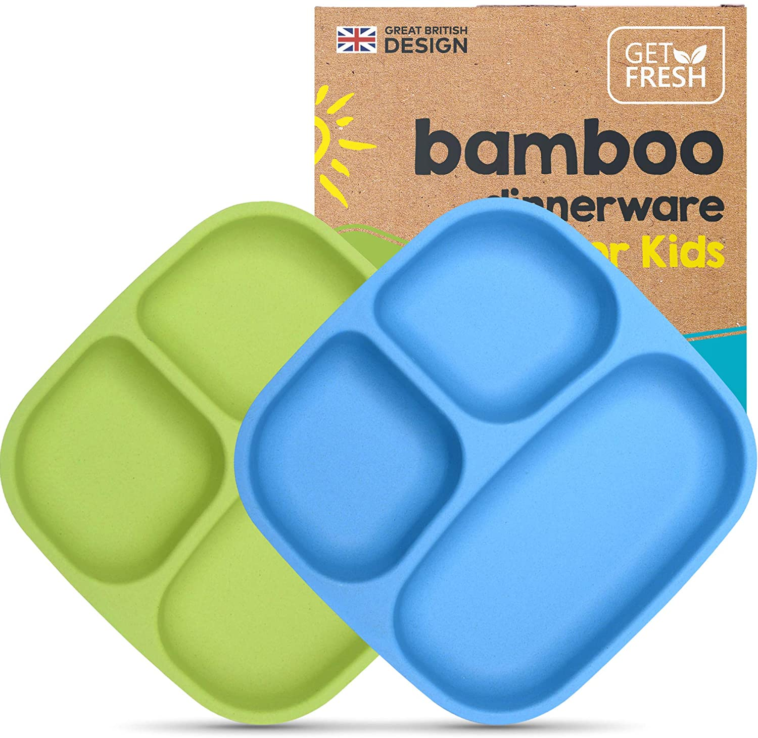 GET FRESH Bamboo Kids Divided Plates Set – 2-Pack Reusable Sectioned Bamboo Childrens Plates for Kids Meals – Colorful Bamboo Toddler Divided Plates Set – Bamboo Kids Dinnerware Compartment Plates