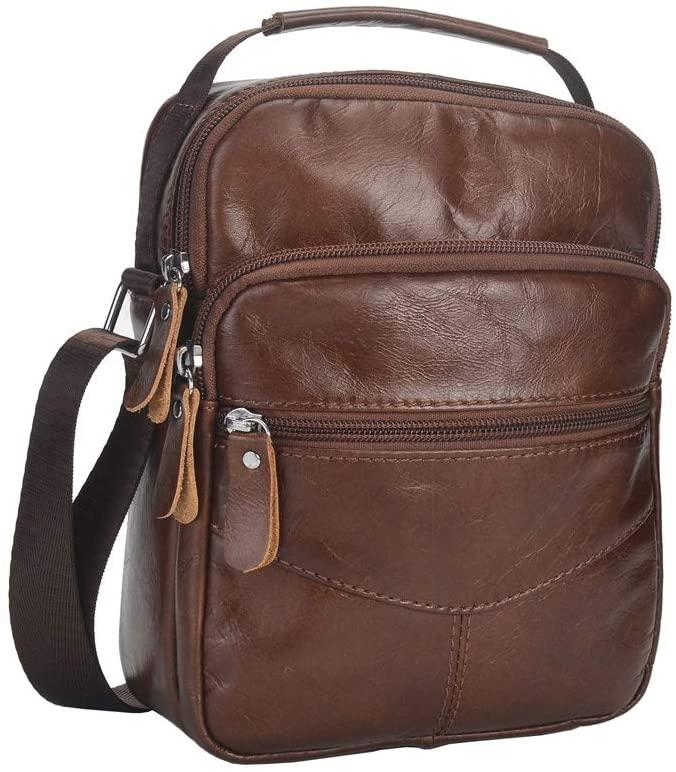 NIYUTA Men's Shoulder Casual Business First layer cowhide Motion Cross-Body Bags handbag US1002 Brown