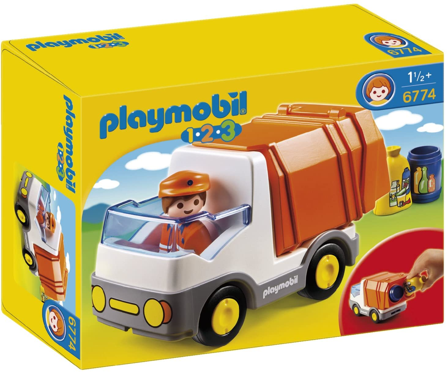 PLAYMOBIL 1.2.3 Recycling Truck, Standard Packaging
