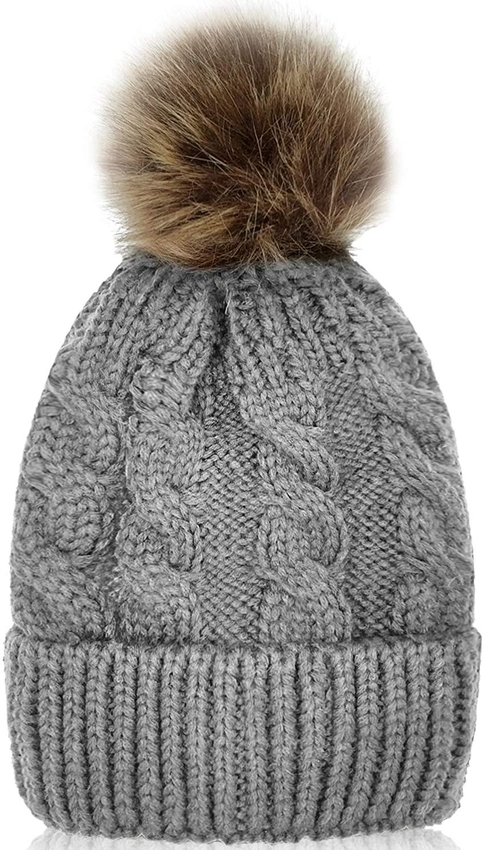 Whiteleopard Kid Beanie Hats Lining Pom Pom for Children -Slouchy Cable Knit Toddler Skull Hat Baby Ski Cap for Girls Boys