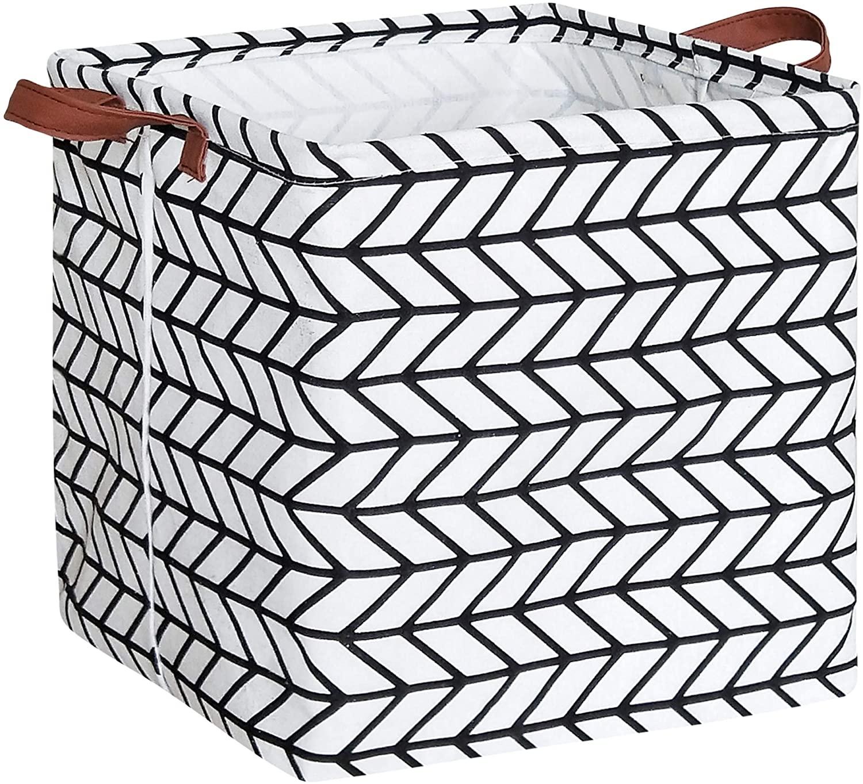 HIYAGON Square Storage Bins,Storage Baskets,Canvas Fabric Storage Boxes,Foldable Nursery Basket for Clothes,Books,Shelves Baskets,Gift Baskets,Home Organization,Room Decor(Black Arrow)