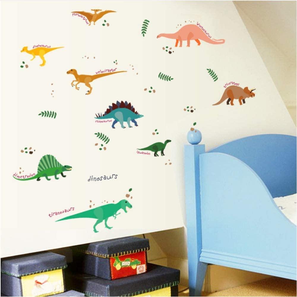 Cartoon Various Dinosaur Wall Stickers for Kids Room Bedroom Self Adhesive Art Mural Sticker DIY Vinyl Furniture Decor