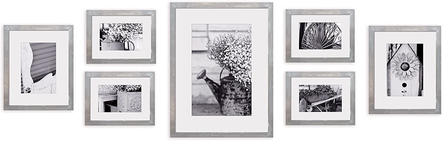 Gallery Perfect Photo Kit with Decorative Art Prints & Hanging Template Gallery Wall Frame Set, 7 Piece, Grey