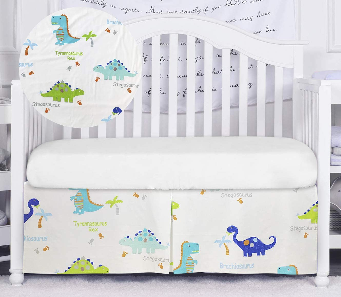 Brandream Dinosaur Crib Skirt for Boys Blue White Nursery Bedding Skirt 100% Cotton Baby Boys Dinosaurs Crib Bedding Skirt 16'' Drop