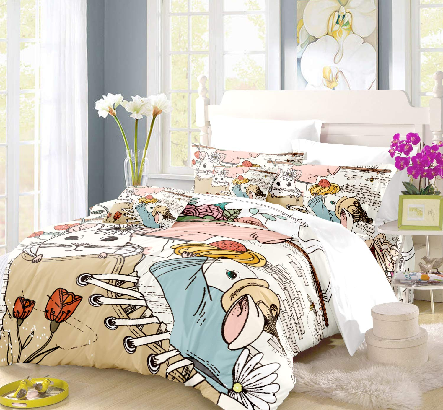 REALIN Three Mice Duvet Cover Set Mouse in Boots Bedding Lovely Balcony Family of Three Bed Sets,2/3/4PCS Microfiber Quilt Covers/Sheets/Pillow Shams,Twin/Full/Queen/King Size