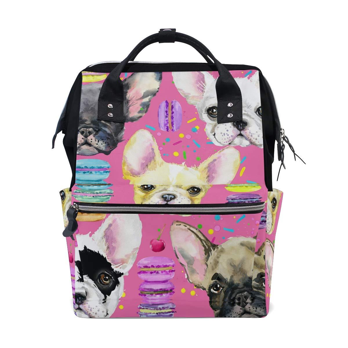 MERRYSUGAR Diaper Bag Backpack Cute Dog Pink Multifunction Travel Bag