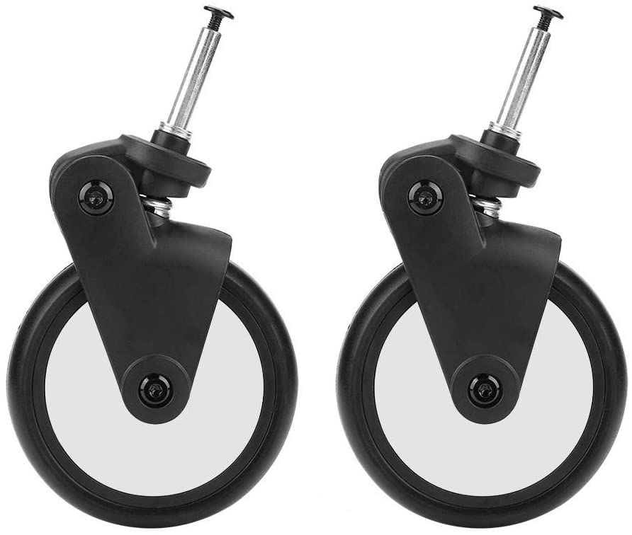 ViaGasaFamido Front Wheel Set for Baby Jogger, Baby Jogger Replacement Caster Wheels Set with Tools Baby Strollers Rubber Wheels Kids Carriage Compatible with Yoya Vovo(1 Pair Front)