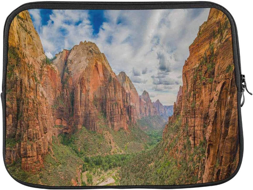 INTERESTPRINT Laptop Water Resistant Sleeve Case Cover Magical Landscape from Zion National Park Utah Notebook Neoprene Carrying Bag 17 Inch 17.3 Inch