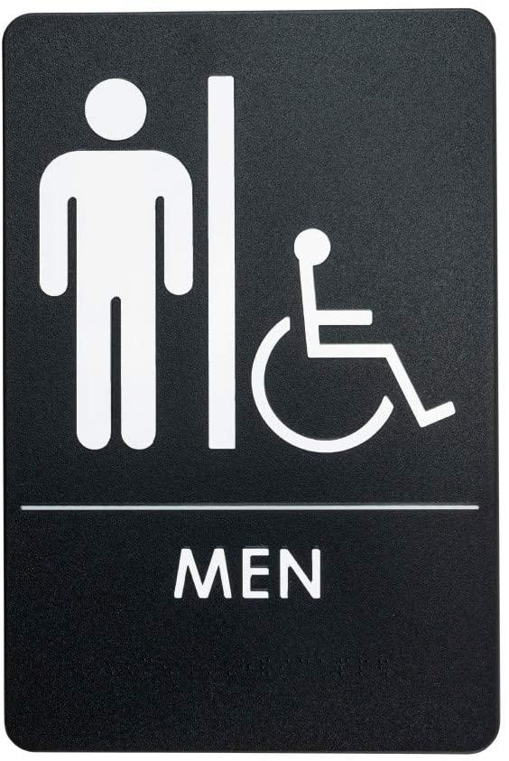 Men's Handicap Restroom Sign ADA-Compliant Bathroom Door Sign for Office, Business, Restaurant, Made in USA, Pack of 3
