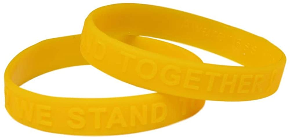 Gold Ribbon Awareness Embossed Silicone Bracelet