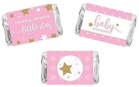 Andaz Press Twinkle Twinkle Little Star Pink Baby Shower Collection, Chocolate Minis Labels, Fits Hershey's Miniatures Party Favors, 36-Pack