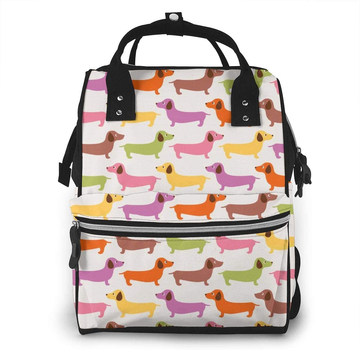 NiYoung Diaper Bag Organizer Insulated Waterproof Travel Nappy Backpack Large Capacity Tote Shoulder Nappy Bags for Mommy Backpack with Multi-Function,Durable and Stylish (Cartoon Dachshund Dog)