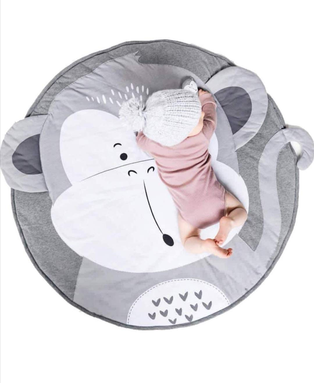 Baby Crawling Mats Round Cotton Cute Animal Pattern Nursery Rug Baby Floor Game Mat Infant Child Activity Playmat