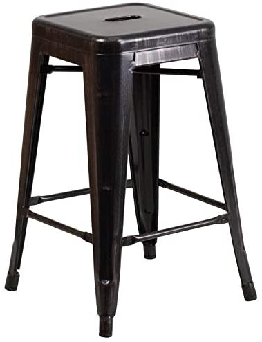 BOWERY HILL Metal 24'' Backless Counter Stool in Black and Gold