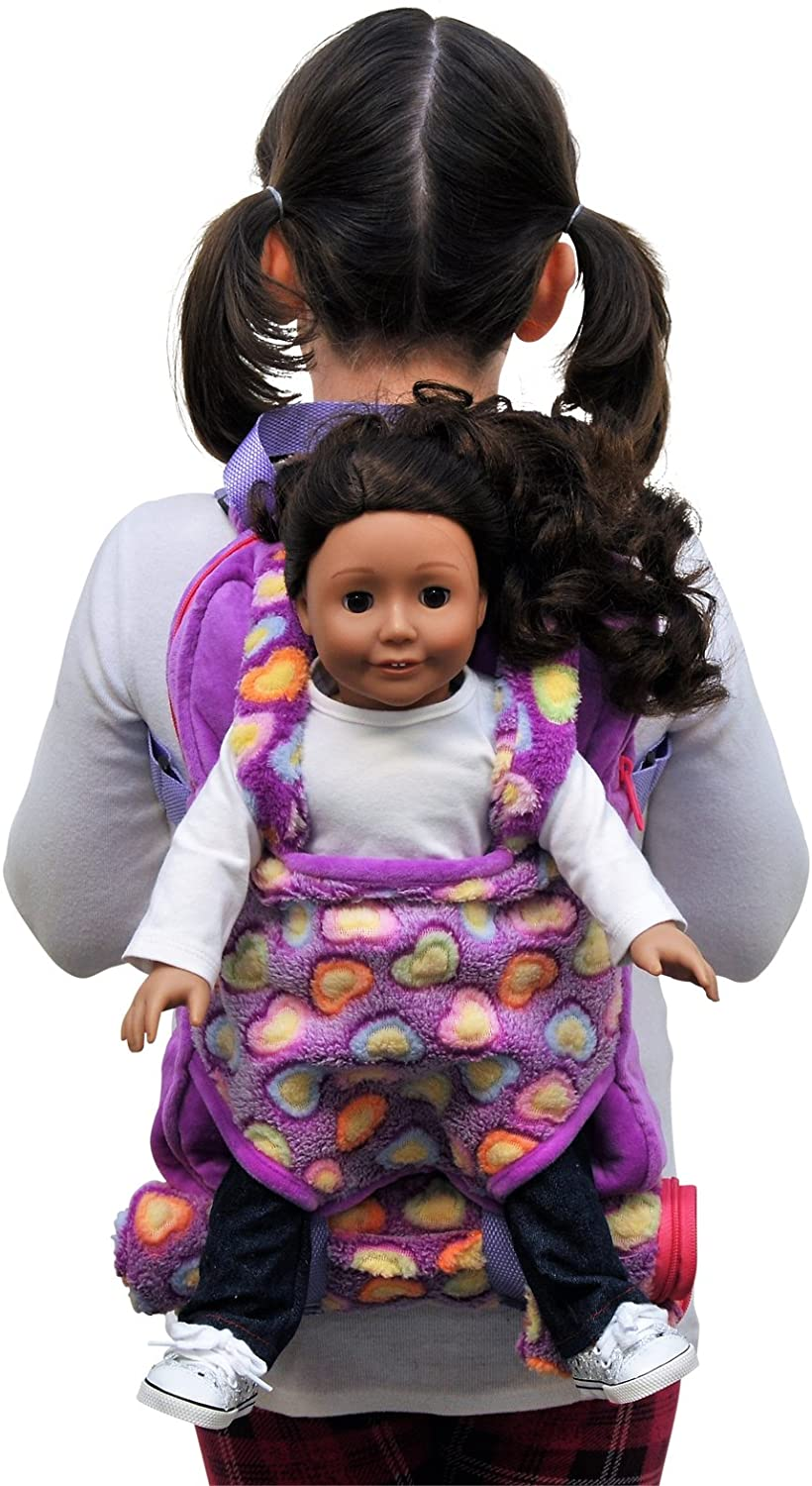 The Queen's Treasures Purple Soft Fancy Baby Doll Backpack Carrier and Sleeping Bag for 18 inch and 15 inch Dolls Designed to Be Compatible with American Girl Doll & Bitty Babies