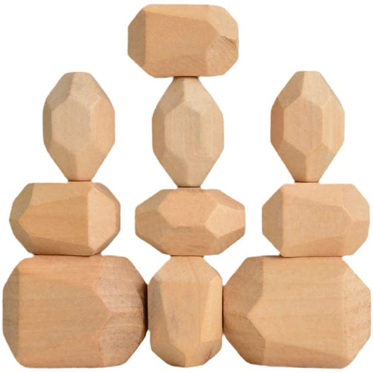 CenturyX Wooden Rock Balance Blocks Set Balancing Stones Block Lightweight Natural Colored Stacking Game Educational Puzzle Toy (Wood Color / 10pcs)