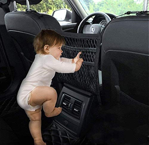 2 Pieces 3-Layer Car Mesh Organizer Car Dog Net Barrier Universal Back Seat Net Organizer Elastic Cargo Net Pouch Holder for Purse Luggage Phone Pets Children Kids