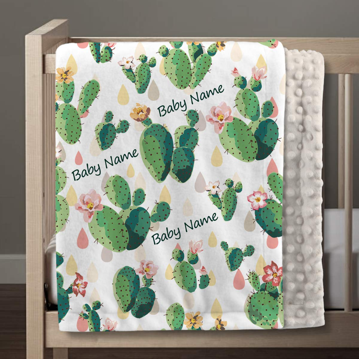 Cactus Personalized Baby Blankets for Boys with Name, Customized Baby Newborn Gifts, Soft Plush and Cozy Minky Dot, 30