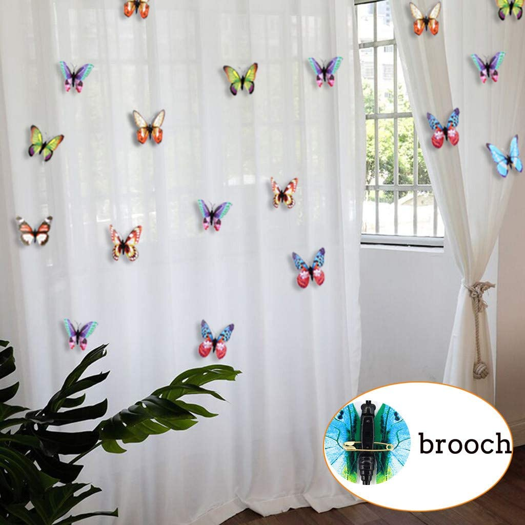 Home Decorations for Living Room, Multifunction 100Pcs 3D Luminous Butterfly Stickers Decal Art Glow in Dark Decor