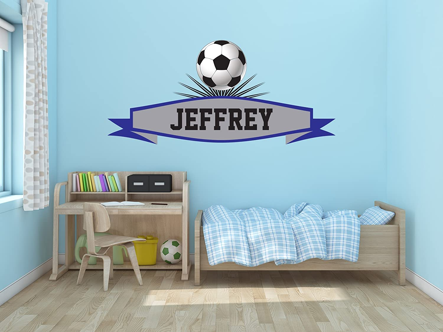 Soccer Ball Custom Name - Football Personalized Name Decal - Wall Decal Vinyl Sticker for Home Interior Decoration Nursery Children Bedroom Windows (33