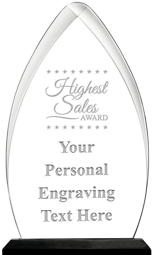 Highest Sales Acrylic Award, 6.75 H Personalized Highest Sales Award with Custom Engraving Prime