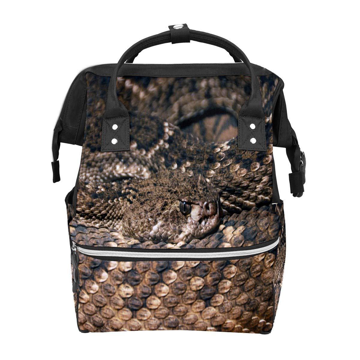 Diaper Bag Backpack Brown Snake Sleep Multifunction Travel Back Pack Baby Changing Bags Large Capacity Waterproof Stylish