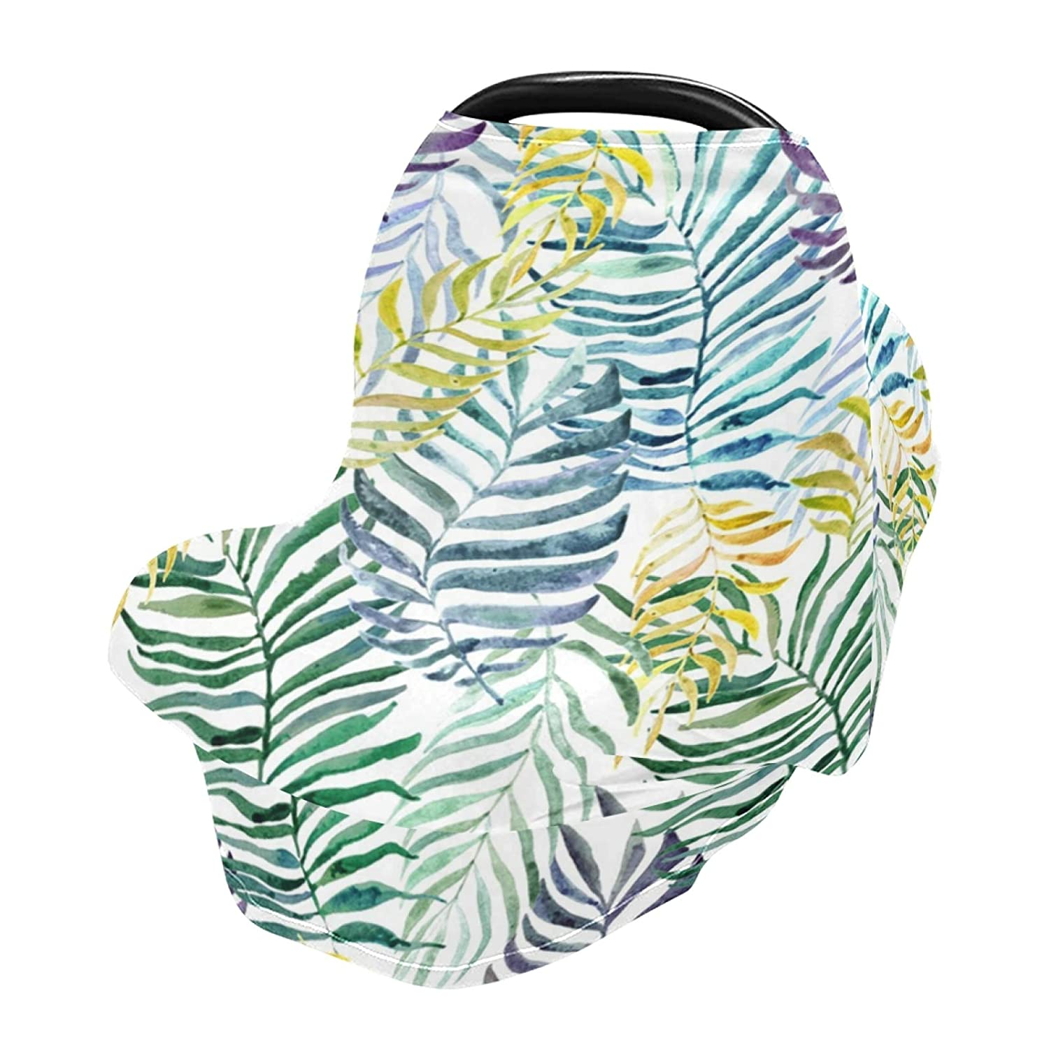 Baby Car Seat Cover Colorful Palm and Banana Leaves Nursing Covers Breastfeeding Scarf Infant Carseat Canopy for Mom Baby Gift