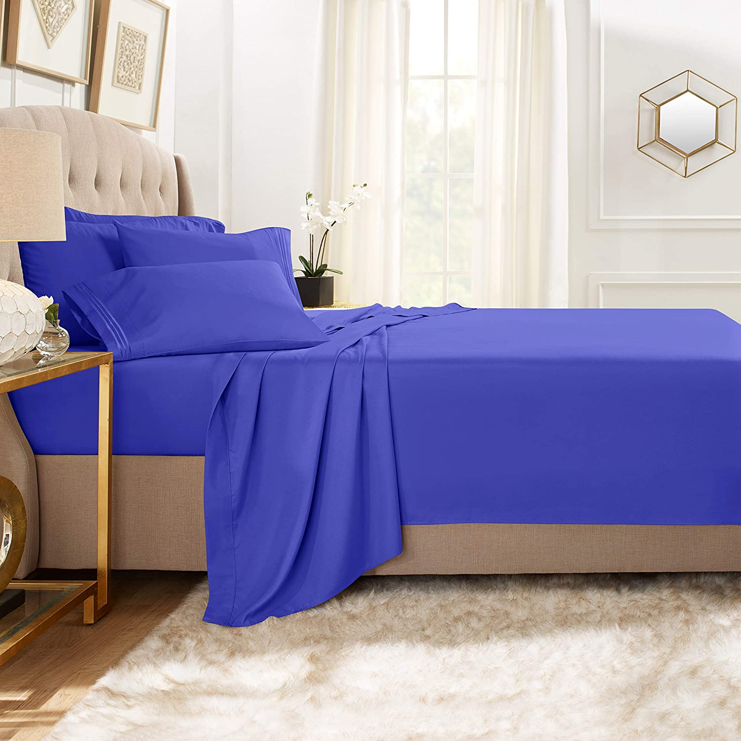 Clara Clark Premier 1800 Collection Bed Sheet Set with Extra Pillowcases Wrinkle, Fade & Stain Resistant, Full, Royal Blue