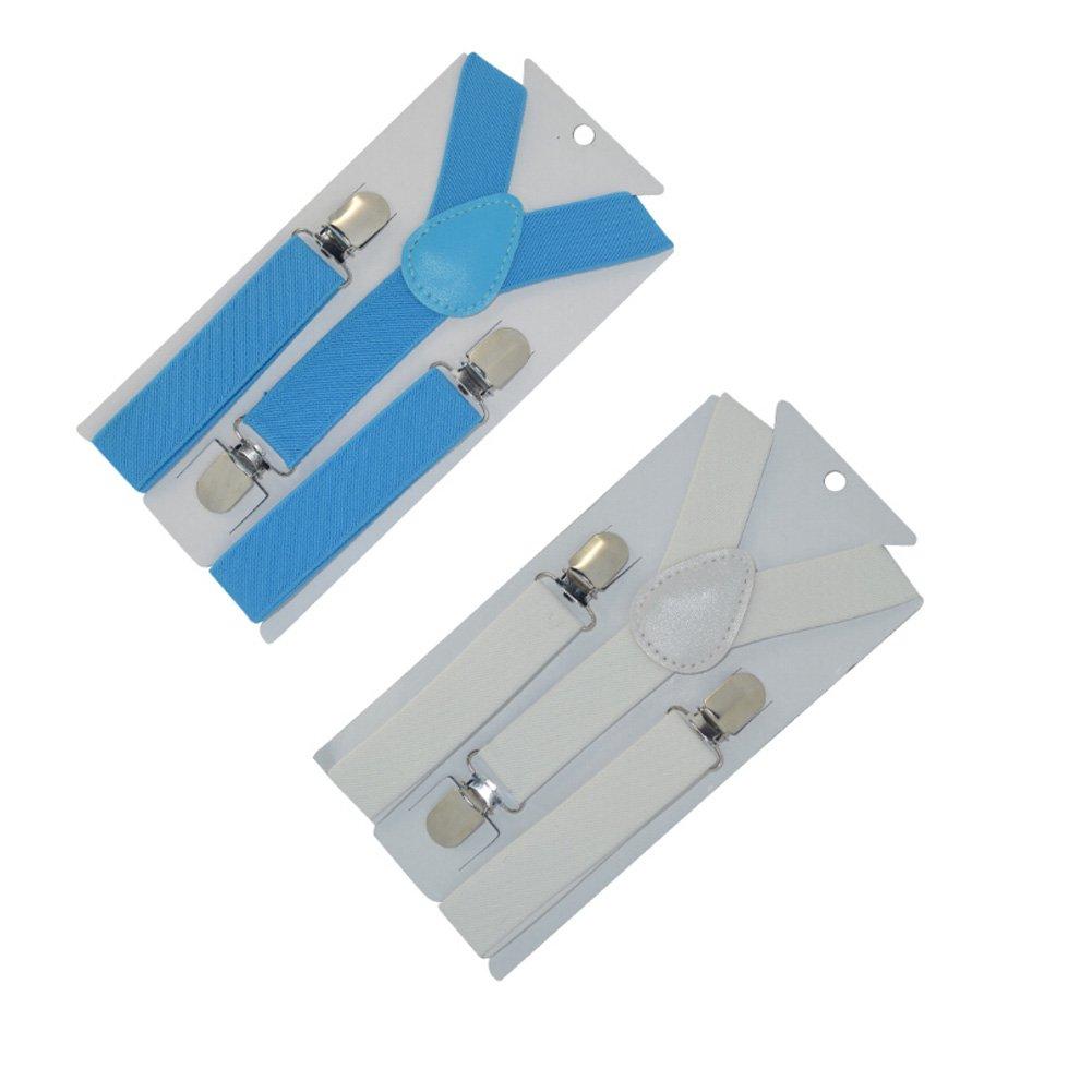 Set of 2 Kids and Baby Elastic Adjustable Clip Suspender, Light Blue/White
