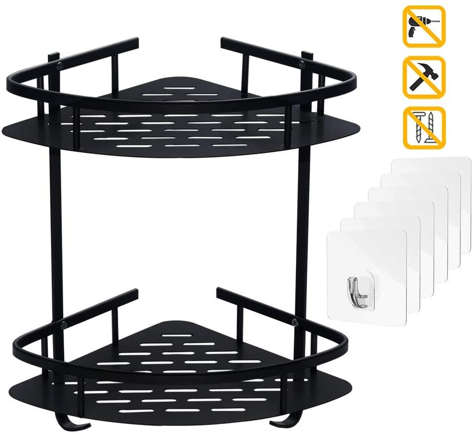 Rugus Bathroom Shelf (no Drill) Durable Aluminum 2 Tiers Shower Frame Paste Corner Bathroom Shelf Kitchen Storage Basket Suction Cup Corner Shower Caddy Corner