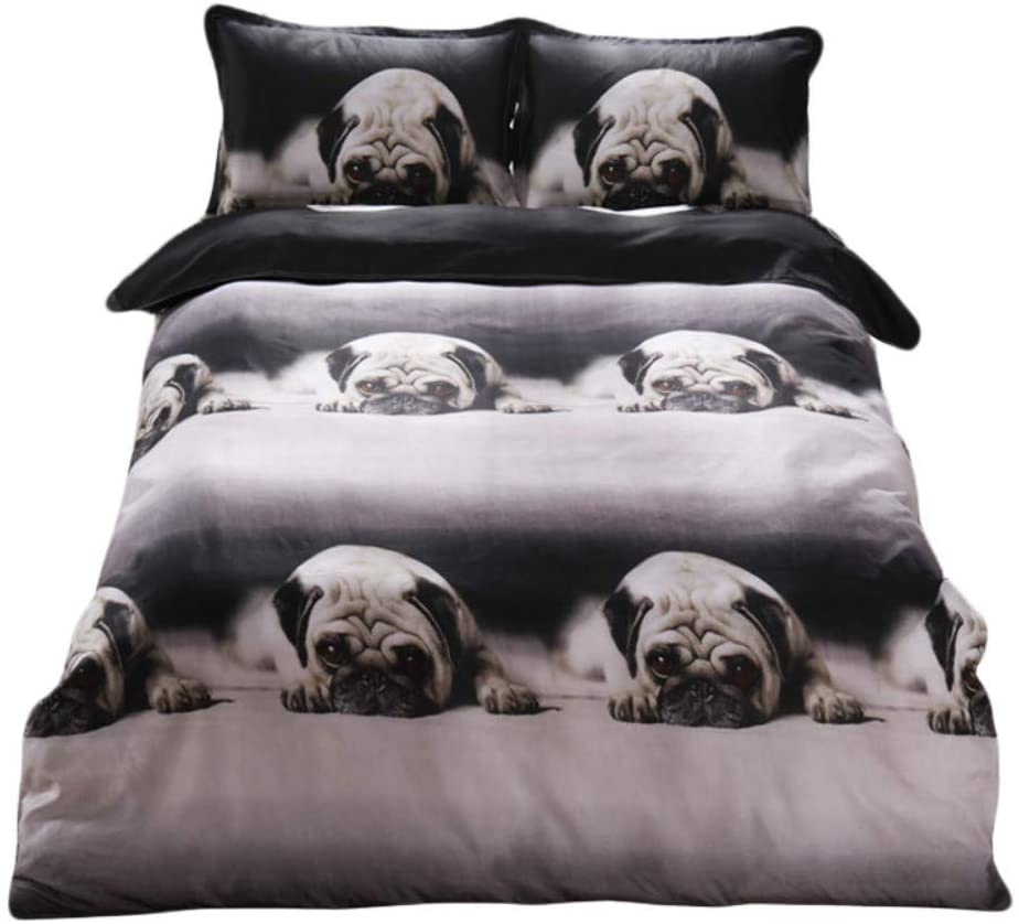 Western Style Cute Dog Pattern Bedding Set for Kids Single Queen King Size Duvet Cover Set 2/3pcs Soft Comfortable Bed Sets (King(3pcs))