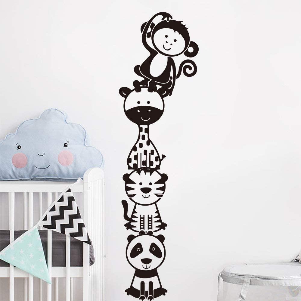 Jungle Animal Stacker Decal Giraffe Panda Tiger Monkey Wildlife Wall Decal Sticker Vinyl Kids Room Nursery Made in USA
