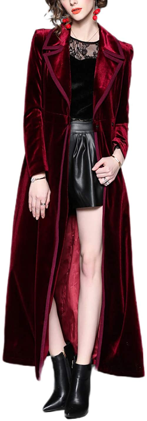 Omoone Women's Slim Notch Lapel Long Vintage Velvet Trench Coat Dress