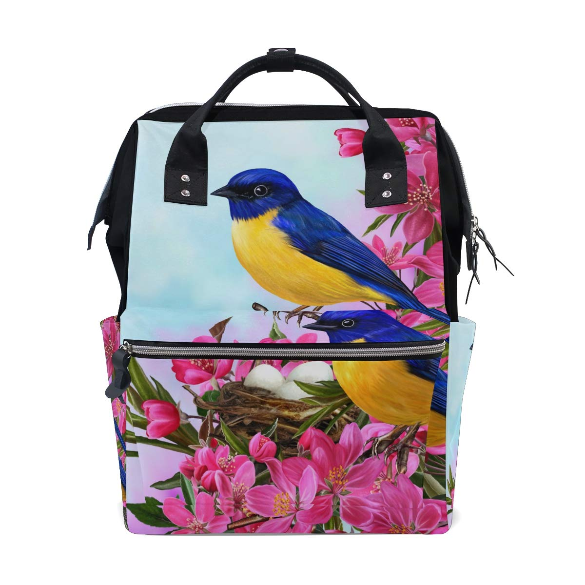 TropicalLife Bird Flower Diaper Backpack Large Capacity Baby Bags Multi-Function Zipper Casual Travel Backpacks for Mom Dad Unisex
