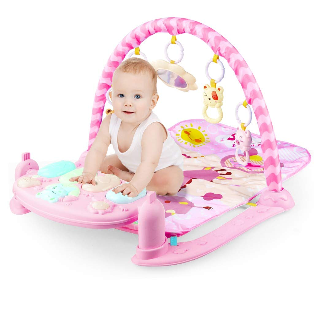US Inventory - Toddlers Play Mat Activity Gym, Large Baby Game Pad Music Pedal Piano Music Fitness Rack Crawling Mat with Hanging Toys, Infant Lay to Sit-Up Play Mat Pedal Piano Set Activity Center