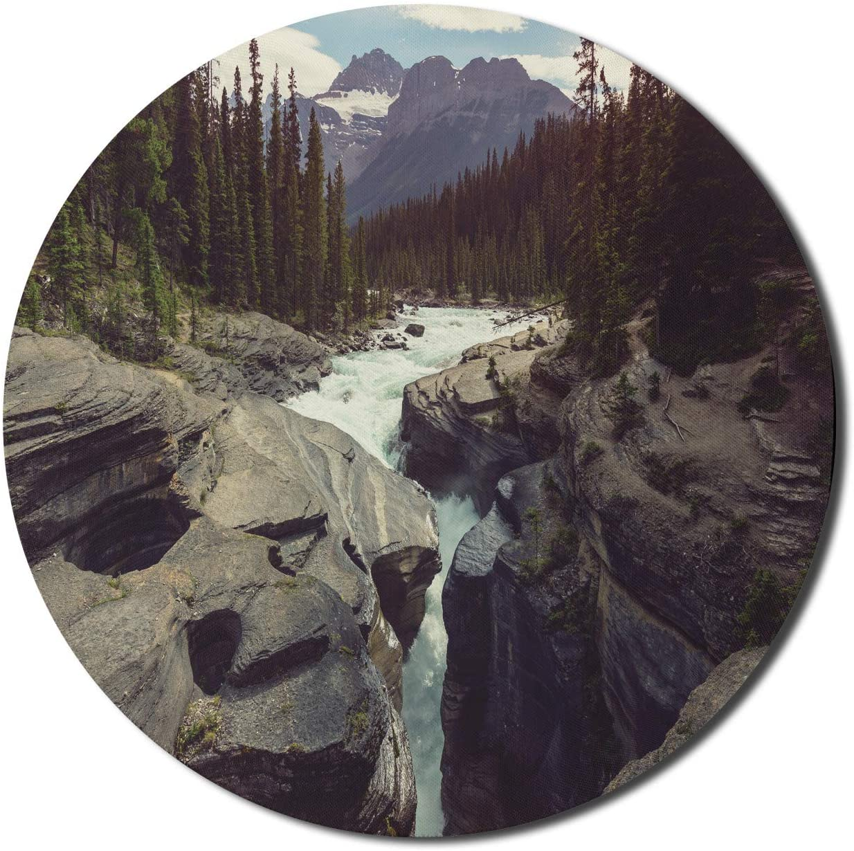Lunarable Snow Mountain Mouse Pad for Computers, Athabasca River Image Flowing Through Jasper National Park of Alberta Canada, Round Non-Slip Thick Rubber Modern Gaming Mousepad, 8