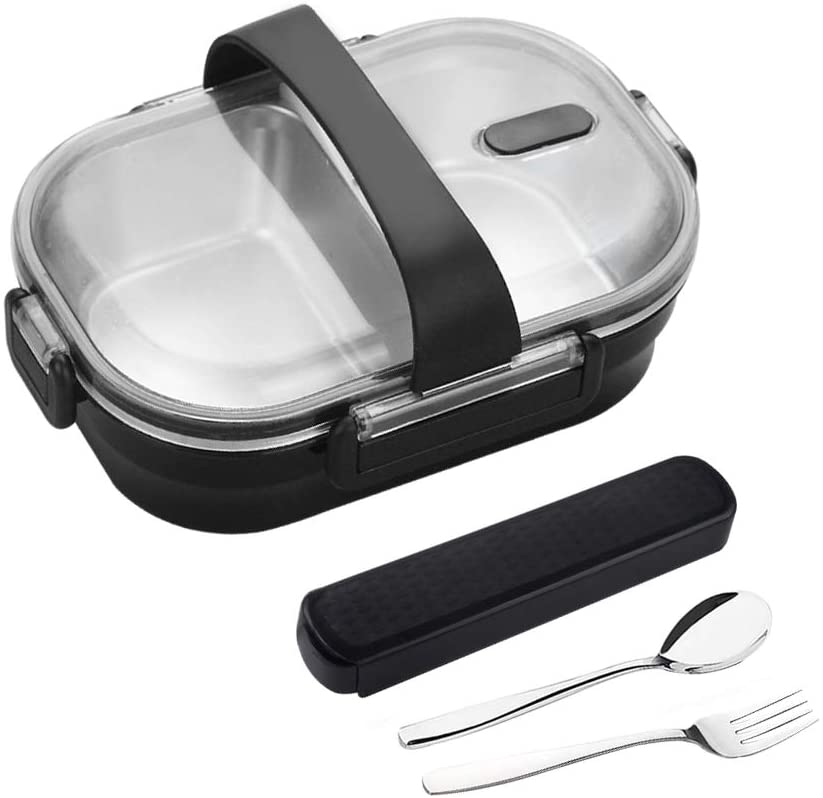 YBOBK HOME Leak Proof Bento Lunch Box with Utensils Stainless Steel Lunch Container with Dividers Reusable Meal Prep Container 2 Compartment for Kids and Adults (Black)