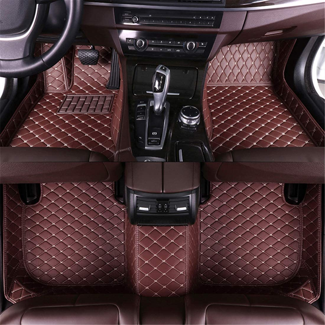 Muchkey car Floor Mats fit for Toyota Previa 2010 Full Coverage All Weather Protection Non-Slip Leather Floor Liners Coffee
