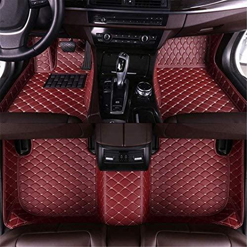 Jiahe Car Floor Mats for Dodge Challenger 2015-2019 (Hump 21cm) Front & Rear Liner Leather Carpet Set Red Wine