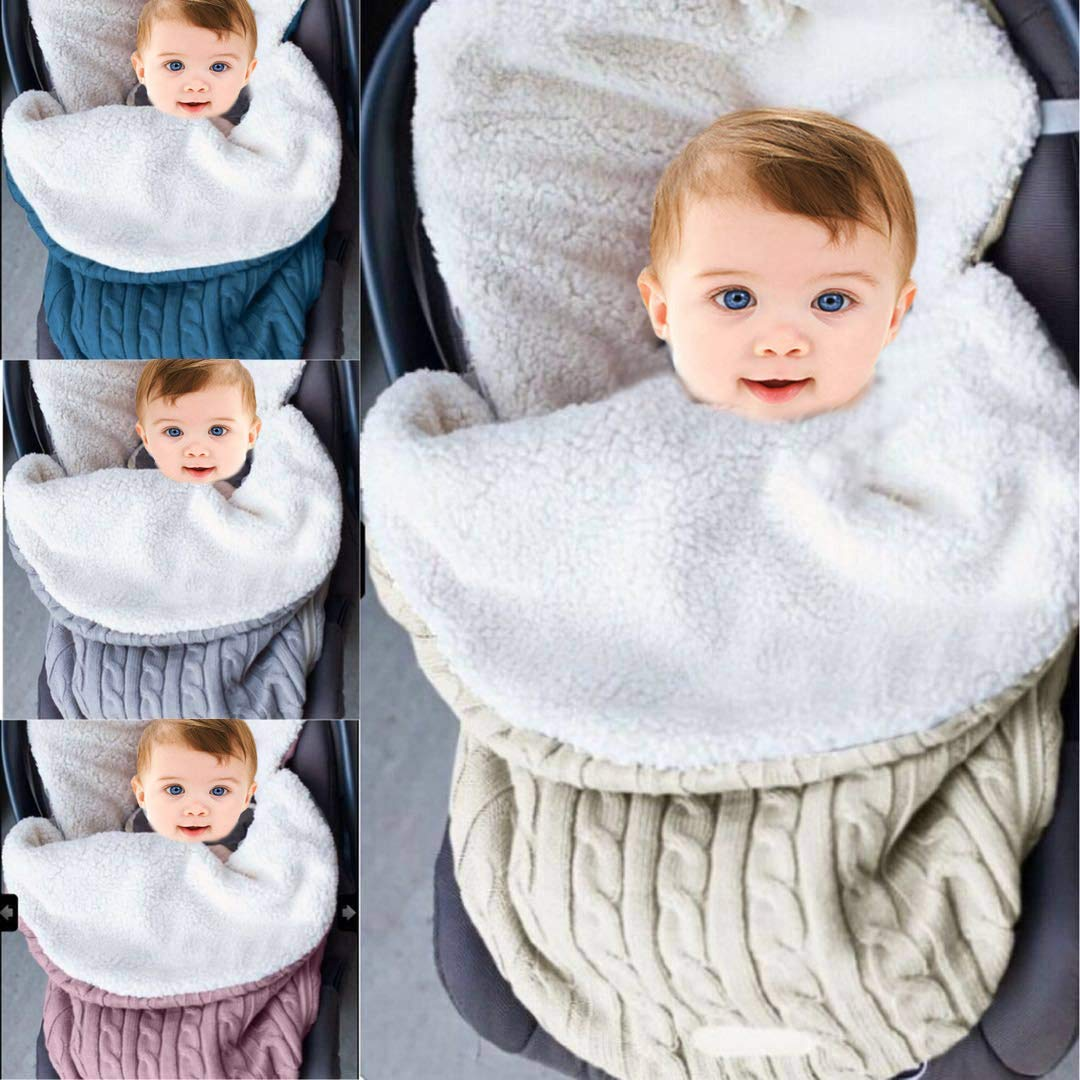 Baby Swaddle Blanket Stroller Wrap Fleece Blanket Sleeping Bag Plus Velvet (Beige)