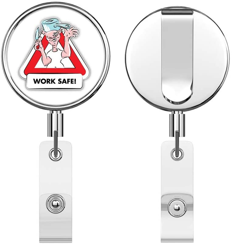 Work Safe Warning Sign Funny Cartoon Retractable Reel Chrome Metal Badge ID Card Holder Clip