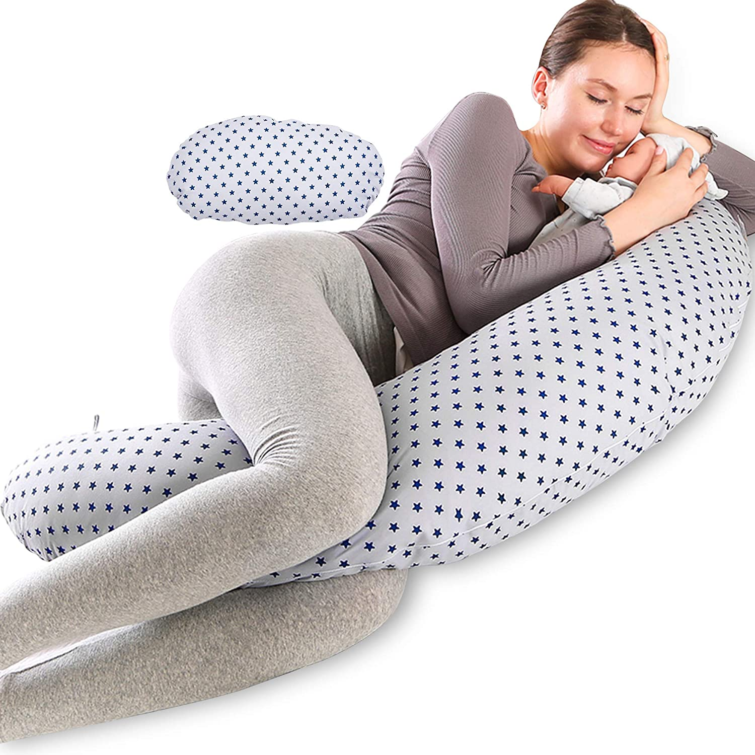 Chilling Home Multifunctional Pregnancy Pillow & Breastfeeding Pillow, Full Body Support Maternity Pillow for Sleeping with Inner Cushion &100% Cotton Cover for Baby Nest, Nursing Pillow, Grey
