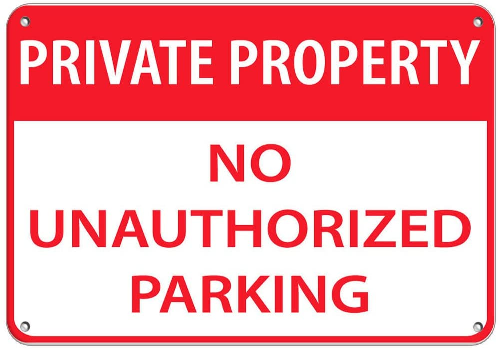 Private Property No Unauthoriz?ed Parking Parking Sign Label Vinyl Decal Sticker Kit OSHA Safety Label Compliance Signs 8