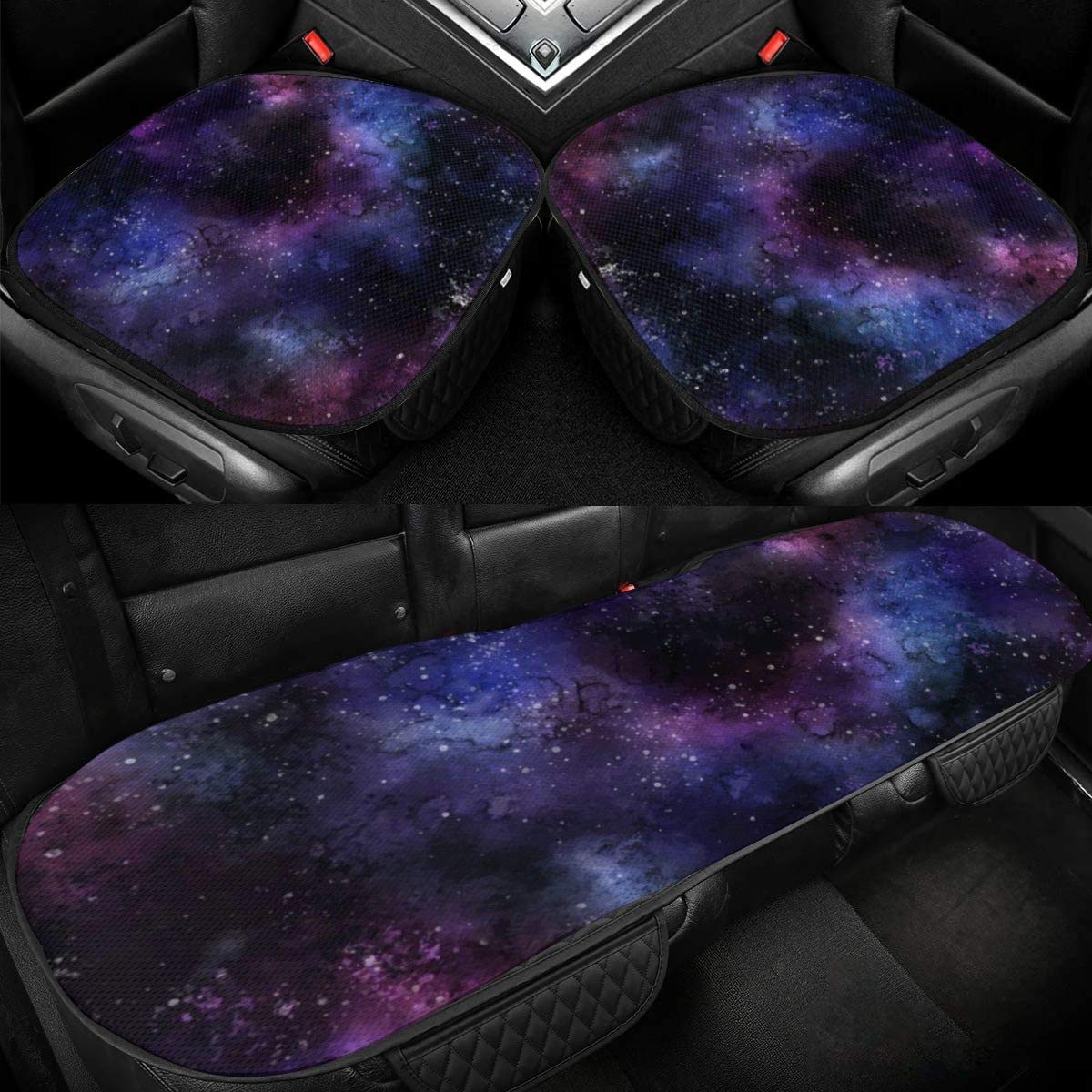 Night Sky Stars Space Car Ice Silk Seat Cushion Pad 3 Pieces Sets Comfort Seat Protector for Car Driver Seat Office Chair Home Use Seat Cushion